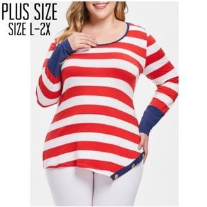 Plus Size Red/White Striped Asymmetrical Hem Tee